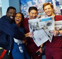 Eamonn Walker, Yaya DaCosta, Brian Tee, and Nick Gehlfuss on set of Chicago Med