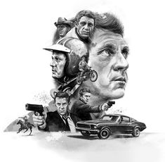 Steve McQueen on Behance Hooray For Hollywood, Hollywood Stars, Bullitt Movie, Steve Mcqueen Bullitt, Celebrity Film, Lady Gaga Pictures, Retro Graphic Design, Man Illustration, Cinema