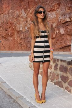 Striped dress + yellow heels +rockstar shades = hot look for date night <3