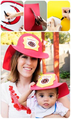 DIY Fireman Hat, DIY Fire Truck Birthday Party Ideas. DIY Foam Firemen's Hat using craft foam and glue -- printable template -- so easy to make.