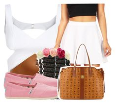 """"""""""" by missy143lol ❤ liked on Polyvore featuring Pieces, TOMS, MCM and Charlotte Russe"""
