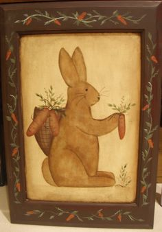 Primitive Rabbit painted on cabinet door. One day in my bathroom. Spring Door, Spring Sign, Felted Wool, Wool Felt, Here Comes Peter Cottontail, Easter Stuff, Rabbit Art, Tole Painting, Painting Cabinets