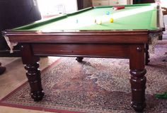 9ft antique snooker billiard table in mahogany B453 | Browns Antiques Billiards and Interiors.