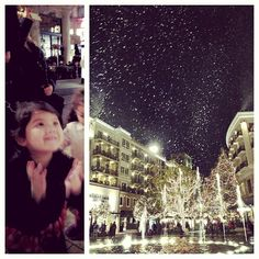 """It's snowing! It's snowing! Little one's first time seeing """"snow"""" ❄⛄ @ The Americana at Brand http://instagr.am/p/SwnSOpBg0w/"""