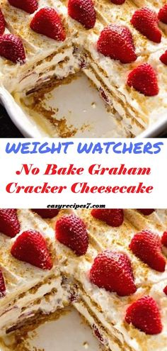 Watchers No Bake Graham Cracker Cheesecake // This is a delicious, light, refreshing dessert. It's low cal and sugar and can be made with the lite pie filling in any flavor. Note that this needs to be made the night before to soften the graham crackers. Desserts Rafraîchissants, Low Calorie Desserts, No Calorie Foods, Low Calorie Recipes, Low Sugar Desserts, Cheesecake Desserts, Low Calorie Baking, Cheesecake Tarts, Birthday Desserts