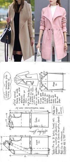 Casaco sobretudo gola inteira com transpasse Girl Dress Patterns, Coat Patterns, Blouse Patterns, Clothing Patterns, Skirt Patterns, Sewing Coat, Sewing Clothes, Diy Clothes, Barbie Clothes