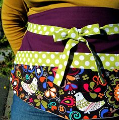 Vendor Pocket Apron - Birds of Norway Utility Apron in Modern Folk w/ Aubergine & Lime Dots - Teacher Apron, Craft Apron, Entertaining Apron