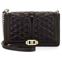 Rebecca Minkoff Love Quilted Crossbody Bag ($295) ❤ liked on Polyvore featuring bags, handbags, shoulder bags, black, black quilted shoulder bag, black leather crossbody, leather shoulder bag, black leather handbags and black shoulder bag