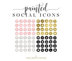 Painted Gold Foil Social Media Icons by Indie Grace Design on @creativemarket