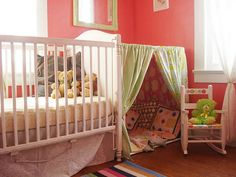 This little cozy spot next to the crib is so great for an older brother or sister to hang out with Baby.