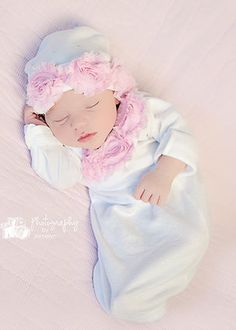 Sweet Baby Girl Gown & Hat-gown,baby, hospital, take, home, outfit, hat, girl, sweet, white, pink, newborn, gift, trendy