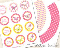 free cupcake wrapper printables | Printable Cupcake Toppers and Wrappers Butterfly Party Pink Yellow ...