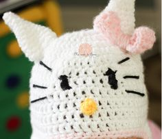 Crochet Baby Hat Beanie Hello Kitty - Any Size - made to order. $23.00, via Etsy by Anna Dusek