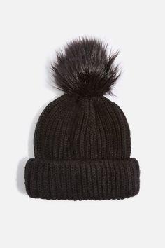 baccb1c565d Faux fur pom beanie hat Floppy Hats