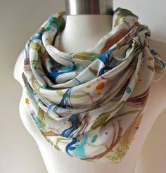 Scarf Silk Hand Painted  Printed Scarves  by joyinmystudio on Etsy, $64.00