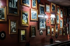 Bar wall decoration with old style singer pictures. Bar Interior Design, Exterior Design, Interior And Exterior, Irish Pub Interior, Wall Bar, Picture Wall, Rock N Roll, Man Cave, Literature