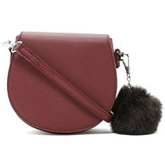 Pom Pom Faux Leather Crossbody ($16) ❤ liked on Polyvore featuring bags, handbags, shoulder bags, forever 21 purses, forever 21, red handbags, vegan purses and faux leather crossbody