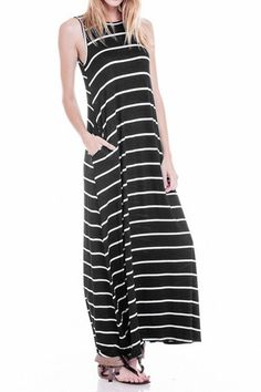 Sleeveless Maxi Dress with Pockets Striped
