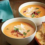 Creamy Sweet Potato Soup Recipe | MyRecipes.com. Elyse made this and sent some to me. Absolutely delicious. Thanks Elyse for sharing your recipe with your momma. She says she used a sweet onion and added a little minced garlic to her onion, omitted the bacon and red pepper and added less than a cup of whole milk to give it a creamy consistency. Writing all of these notes so I don't forget for future reference. :) Thank you @elysejoy .