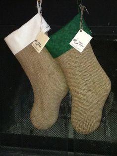 Christmas Stockings. Recycled burlap coffee bags.