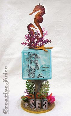 Creative Juice: Sea Themed ATB - see all the details in the blog post! #rangerink #TimHoltz #ArtistTradingBlock