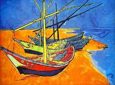 """Vincent Van Gogh's """"Fishing Boats on the Beach"""" @watercolorpainting.com"""