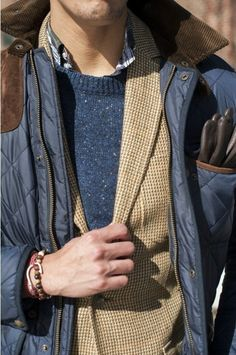 Shop this look for $161:  http://lookastic.com/men/looks/crew-neck-sweater-and-blazer-and-jacket-and-gloves-and-longsleeve-shirt/121  — Navy Crew-neck Sweater  — Tan Blazer  — Navy Jacket  — Brown Leather Gloves  — Multi colored Longsleeve Shirt