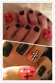 Hot pink n black with crosses nail art