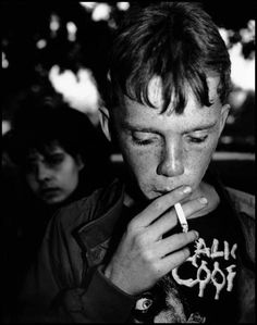 """Jim Goldberg created this image 'Raised By Wolves', a book that documents lives of teenagers who have run away and now live on the streets of San Francisco and Los Angeles. The series were recorded between 1987 and 1993. The interview with the adolescent subject.. """"sleezy old men, Jack'N off in front of me, you have to get high to do it"""". A Harrowing picture to American urban life and the cultural, adversarial surroundings."""