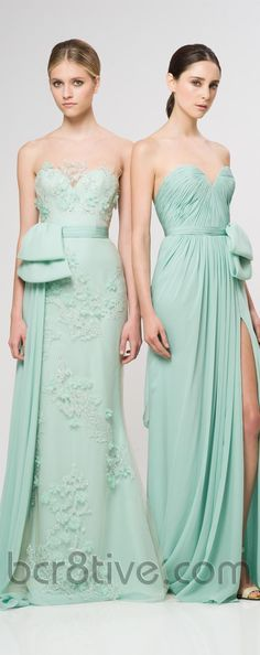 like the one on the left....Reem Acra Ready To Wear Resort 2013  bridesmade dresses idea of same shade of color different design