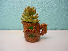 Vintage ceramic pine cone and squirrel by SouvenirAndSalvage