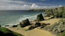 Spectacular views of the iconic Bedruthan Steps (not NT), Cornwall © NTPL/Joe Cornish