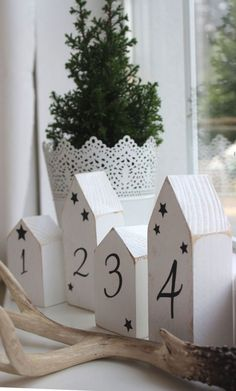 Christmas decoration - wooden house set * Advent * white in shabby style - a designer piece . Christmas decoration wooden house set * Advent * white in shabby style a unique product by Homemade Wall Decorations, Wooden Christmas Decorations, Christmas Wood, Pink Christmas, Christmas Time, Christmas Crafts, Holiday Decor, Navidad Diy, Diy Weihnachten