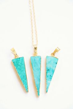 Turquoise Necklace Raw crystal necklace Dainty by VermeerJewellery