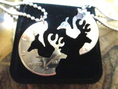Buck and Doe Lovers Necklace Hunters Hand Cut Fifty Cent Piece His and Hers  #Handmade by my husband!