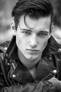 Black Leather Biker Jacket, coolboysinleather: Robbie Beeser Greaser Guys, Greaser Hair, Greaser Style, Black Leather Biker Jacket, Leather Jeans, Leather Jackets, Denim, Cool Haircuts, Haircuts For Men