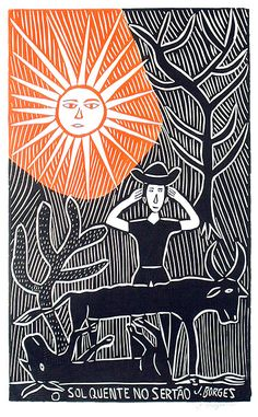 José Francisco Borges (Brazil), Woodcut print on paper x image on x sheet), 2007 Colors and exact design will vary. Woodcut Art, Linocut Prints, Poster Prints, Art Prints, Arte Popular, Art And Illustration, Tampons, Wood Engraving, Mail Art