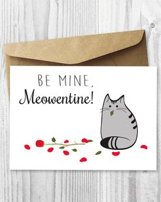 Printable Valentines Day Card Cat Valentine's Day Card by miumicat