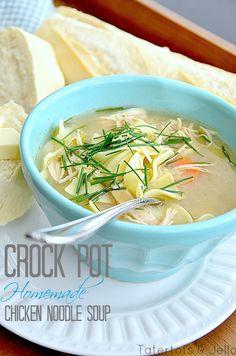 homemae crock pot chicken noodle soup