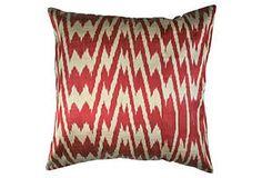 Chevron Ikat 18x18 Pillow, Red