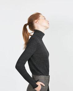 High neck sweater in dark grey, $25.90