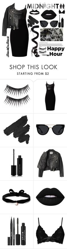 """""""Black on Black"""" by essentiallyessence ❤ liked on Polyvore featuring Schutz, NYX, Quay, Marc Jacobs, Acne Studios, Aamaya by Priyanka, Lime Crime, Stila, Boohoo and Jaeger"""