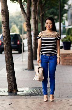 ann taylor striped lace yoke top, asos cobalt blue pants, via spiga nude pointed pumps | cute & little | petite fashion blog by kileencheng, via Flickr