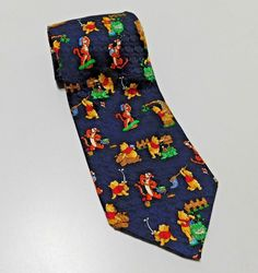 75bda4e0 Disney Winnie the Pooh amp Tigger 100 Silk Neck Tie Mens Novelty Blue  Necktie