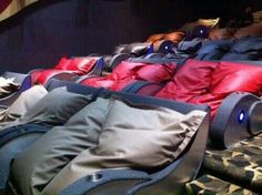 Sofa cinema with huge bean bags and aaaaawww yeah....