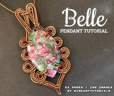 """TUTORIAL """"BELLE"""" pendant PDF pattern book,wire wrap weave jewelry,copper,cabochon,wrapping weaving,wrapped weaved,big pendant design"""