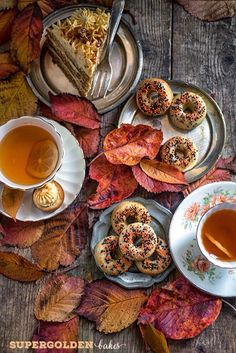 Donuts with hot apple cider