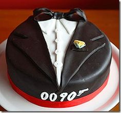 james bond tuxedo cake