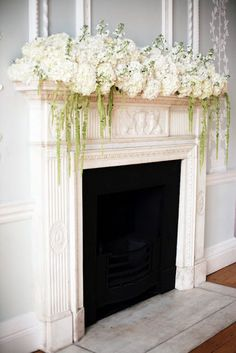 Hydrangea arrangement on the mantelpiece