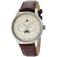 Tommy Hilfiger Mens 1710256 Classic  Brown Croco Embossed Strap Watch